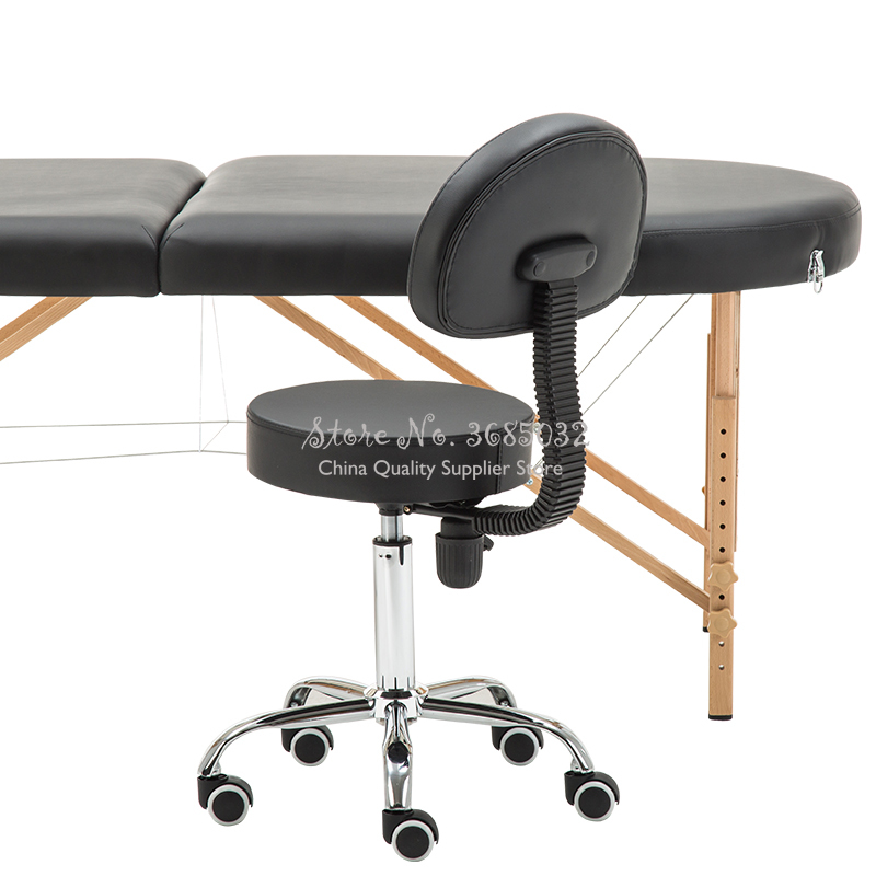 Leather Message Saddle Chair With Footrest & Swivel Height Adjustable Chairs Medical Spa Drafting Stool With Back For Office