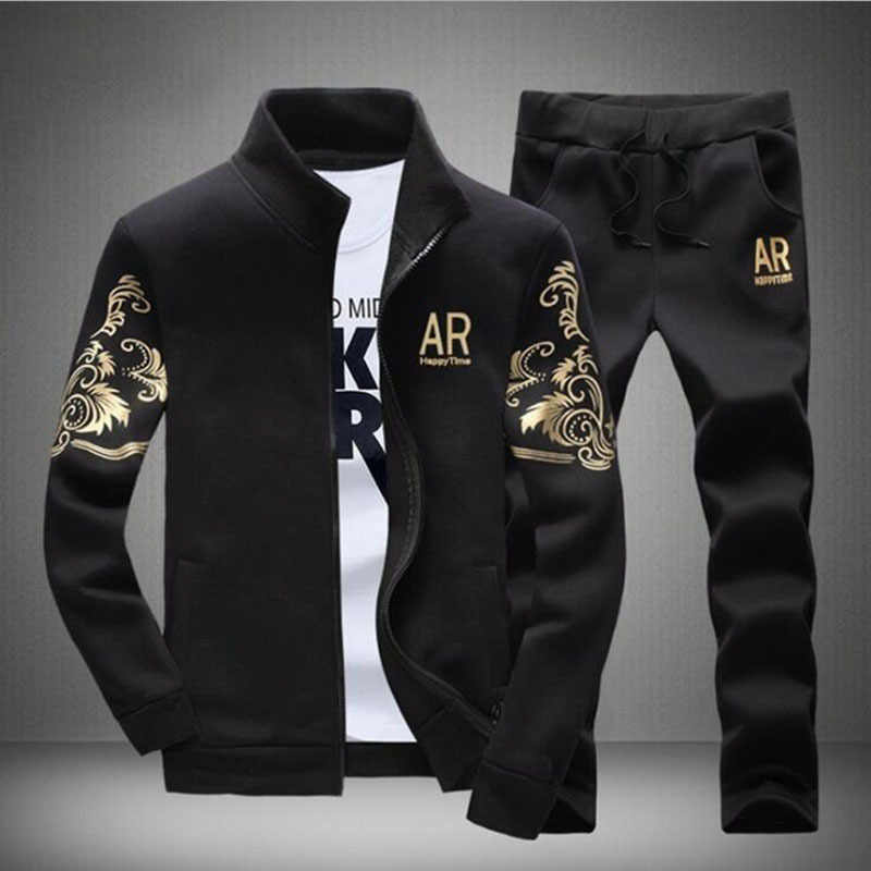 2019 Men Sportswear Set Autumn And Winter Korean-style Casual Long Sleeve Trousers Cardigan Trend Hoodie Two-Piece Set Foreign T