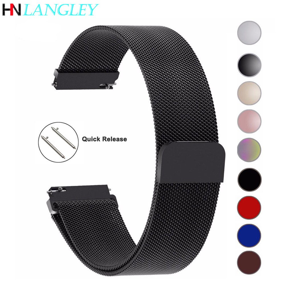 20mm 22mm 23mm For Samsung Galaxy 42/46 Mm Active 2 Watch Bands B57 16mm Straps Loop Milanese Strap Stainless Steel 14 18 24mm