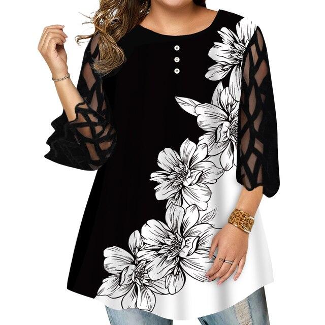 beautiful geometric sleeve button top blouse 3