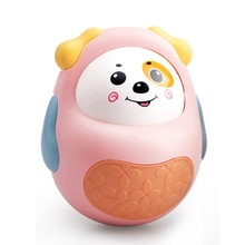 T5EC Cartoon Active Face Puppy Bell Rattle Tumbler Toy, Soothing Portable Tumbler Doll for 0-3/6-12 Month Infant Baby