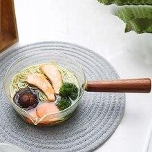 Стеклянный молочный горшок с деревянной ручкой, кухонный горшок для салата, супа, лапши, газовая плита, кухонная посуда
