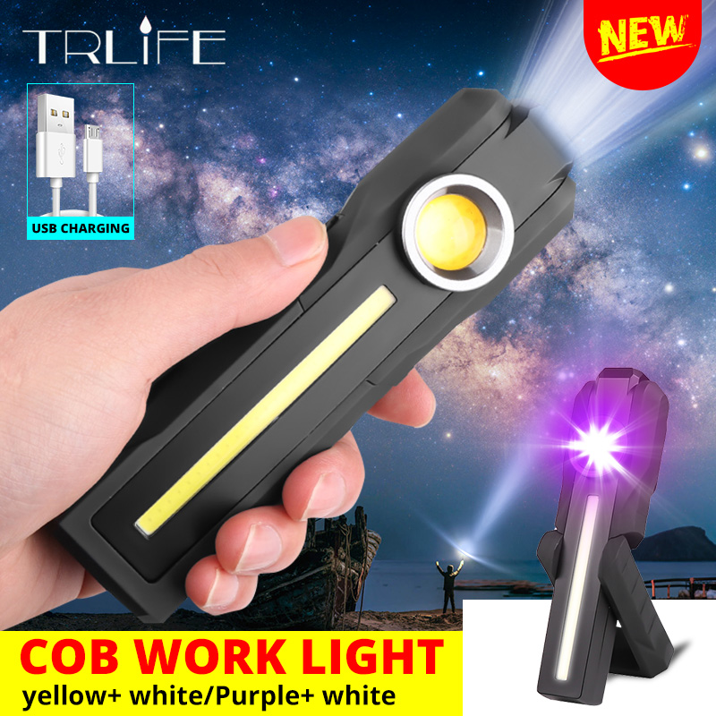 3W USB RECHARGEABLE TORCH COB MAGNETIC GARAGE INSPECTION LED WORK LIGHTS LAMP UK