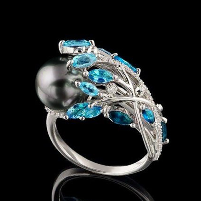 Luxury Crystal Cocktail Rings Trendy Blue Zircon Phoenix Tail Black Pearl Rings For Women Fashion Jewelry