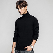 Turtleneck Sweater Pullover Thin Slim Male Solid-Color Fashion Cotton Brand-New Casual