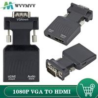 WVVMVV 1080P/720P, VGA a HDMI compatible con adaptador/convertidor de Cable de Audio de entrada de energía para Monitor HDTV proyector PC portátil TV-BOX P