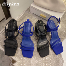 Eilyken New Fashion Women Sandals Square High Heel Strap Summer Shoes