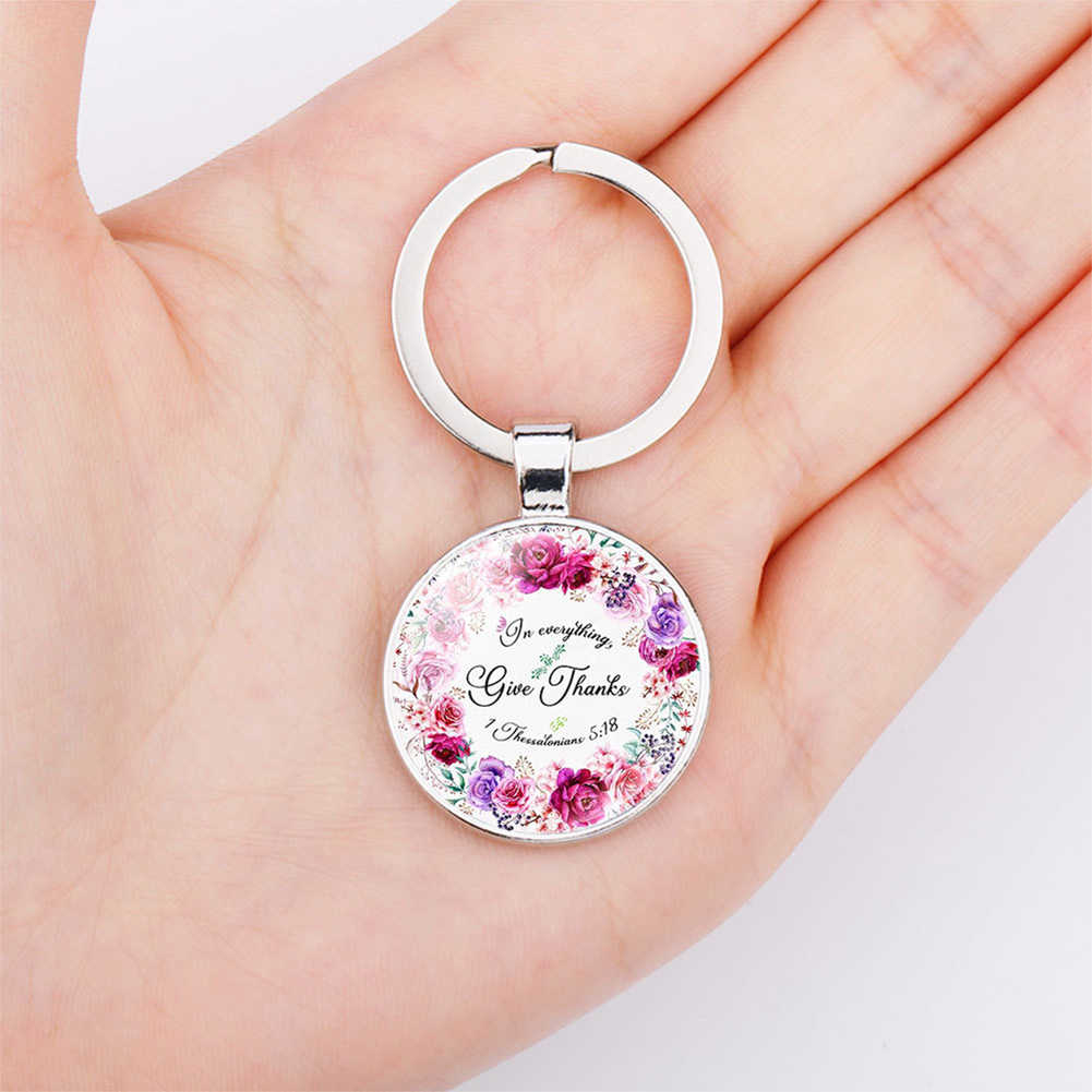 2020 yeni moda İncil ayet anahtar zincirleri el yapımı cam anahtarlık kutsal alıntı inanç takı kadın erkek hıristiyan hediyeler