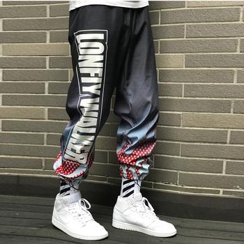 Modne spodnie męskie super modne modne marki dziewięciopunktowe spodnie gradientowe belki haremowe spodnie hip-hopowe spodnie sportowe tanie i dobre opinie bridgewater Harem spodnie Inne Poliester Luźne Pełnej długości Hip Hop Lekki Kostki długości spodnie