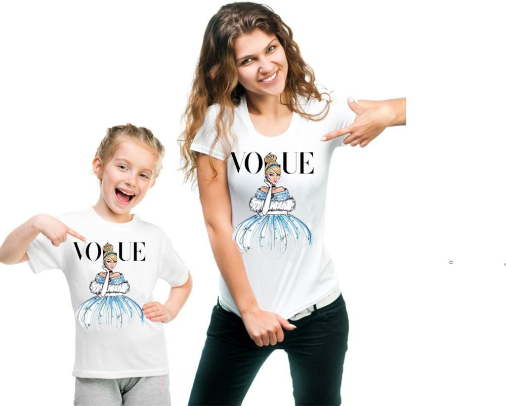 Hot Cartoon Print Matching Family Outfits Mother Kids T Shirts Short Sleeve kt2014