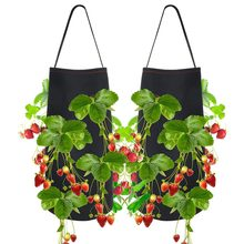 2pcs/set Non-woven Fabric Hanging Garden Planter Bed Planting Grow Bag Strawberry Flower Vegetable Plants Pot 38 x 22cm(China)
