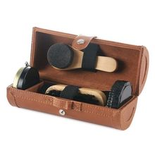 Leather shoes care set of 6 pieces, shoehorn, shoe polish, shoe brush, cleaning cloth, sponge brush, sponge wipe