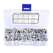 140pcs/set #10-24 Stainless Steel Hex Socket Cap Head Screws and Nuts Assortment Stainless Self Environment-friendly все цены