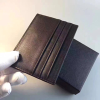 Brand Men Black Credit Bank Card Holder Apparel Sewing Fabric Genuine Leather