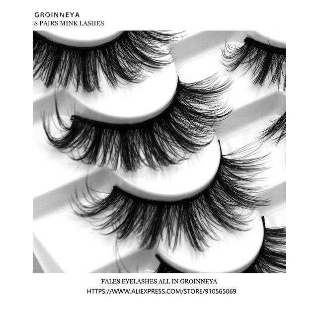 3D Mink Lashes 5/8/10 Pairs Natural False Eyelashes Fluffy Soft Wispy Volume Dramatic Long Cross Eyelash Extension Makeup 5