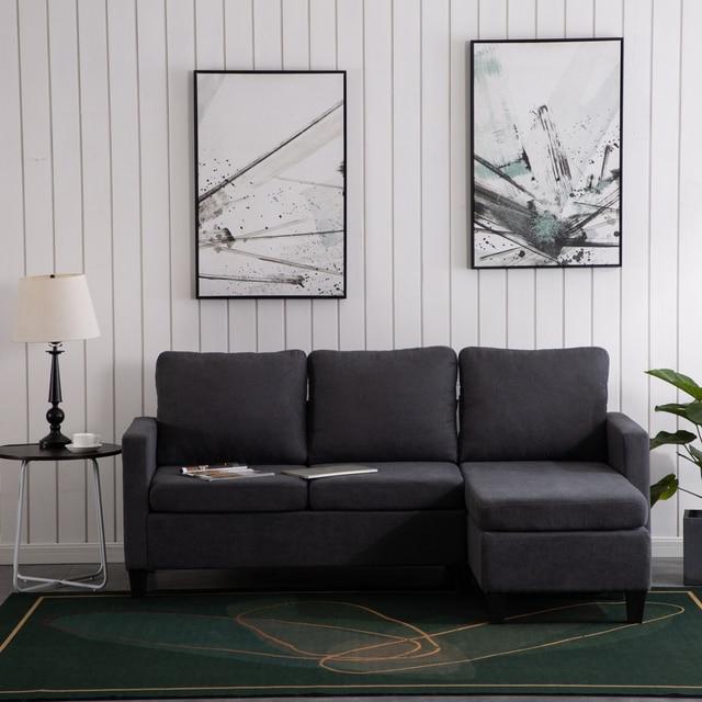 196x68x80CM Double Chaise Sofa Dark Grey  5