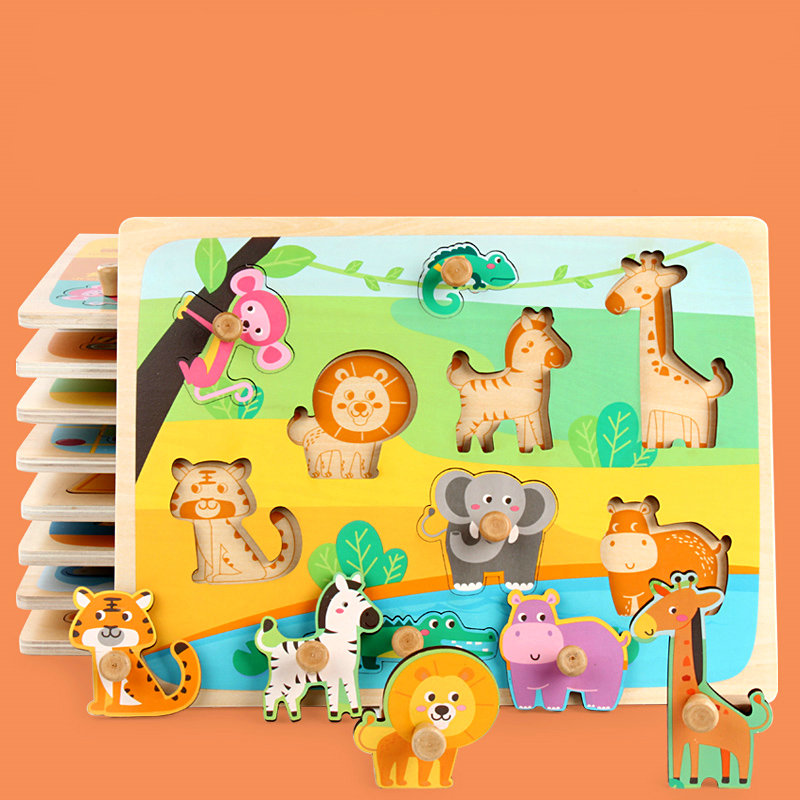 Children's Animal Fruit Wooden Puzzle Board Toys, No Burrs, Baby Wood Puzzles Forest/Marine/Farm Etc Classic Jigsaw Puzzles Toy