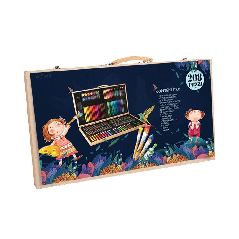 180 шт., деревянных коробок щетка, набор детской одежды Акварельная Ручка инструмент для девочек товары для рукоделия живопись материал подарочный набор подарок для ученика