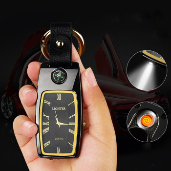 wholesale Charging  Lighter Keychain USB Watch Survival Compass Cigarette Lighter with Light Electric New Multi-function Outdoor 1