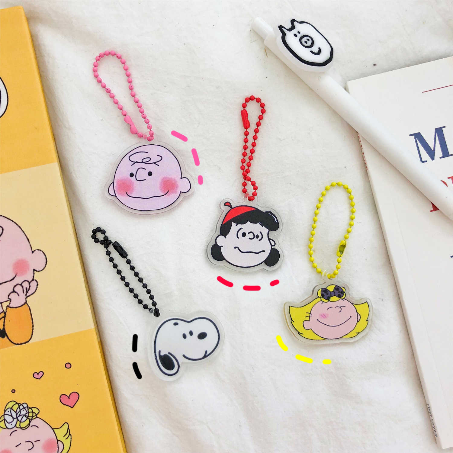 Cute Cartoon Keychain Key Ring Gift For Women Girls Bag Pendant PVC Charms Key Chains