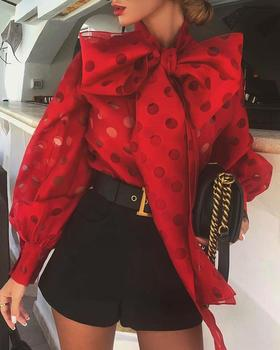 Sweet Bow Tie Dot Hollow Out Lantern Sleeve Knotted Blouse Women Blouse Tops Long Sleeve Shirt Print Blouse фото