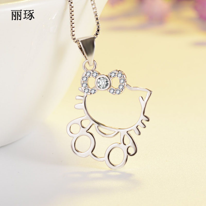 Korean Cute Kitty Cat Hollow Silver-plated Pendant Necklace Female Stainless Steel Alloy Jewelry February 14 Gift