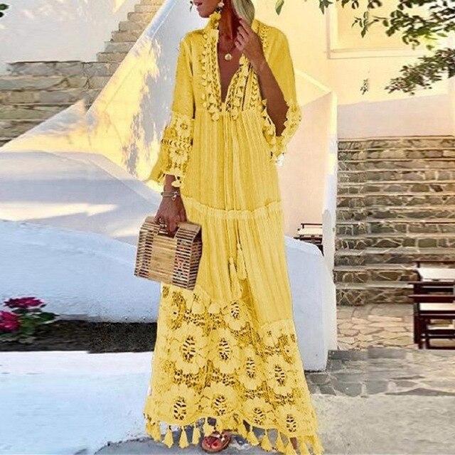 Women Sexy Deep V-Neck Lace Patchwork Party Long Dress Summer Fashion Vintage Tassel Design A-Line Dress Female Casual Dress 4XL 4