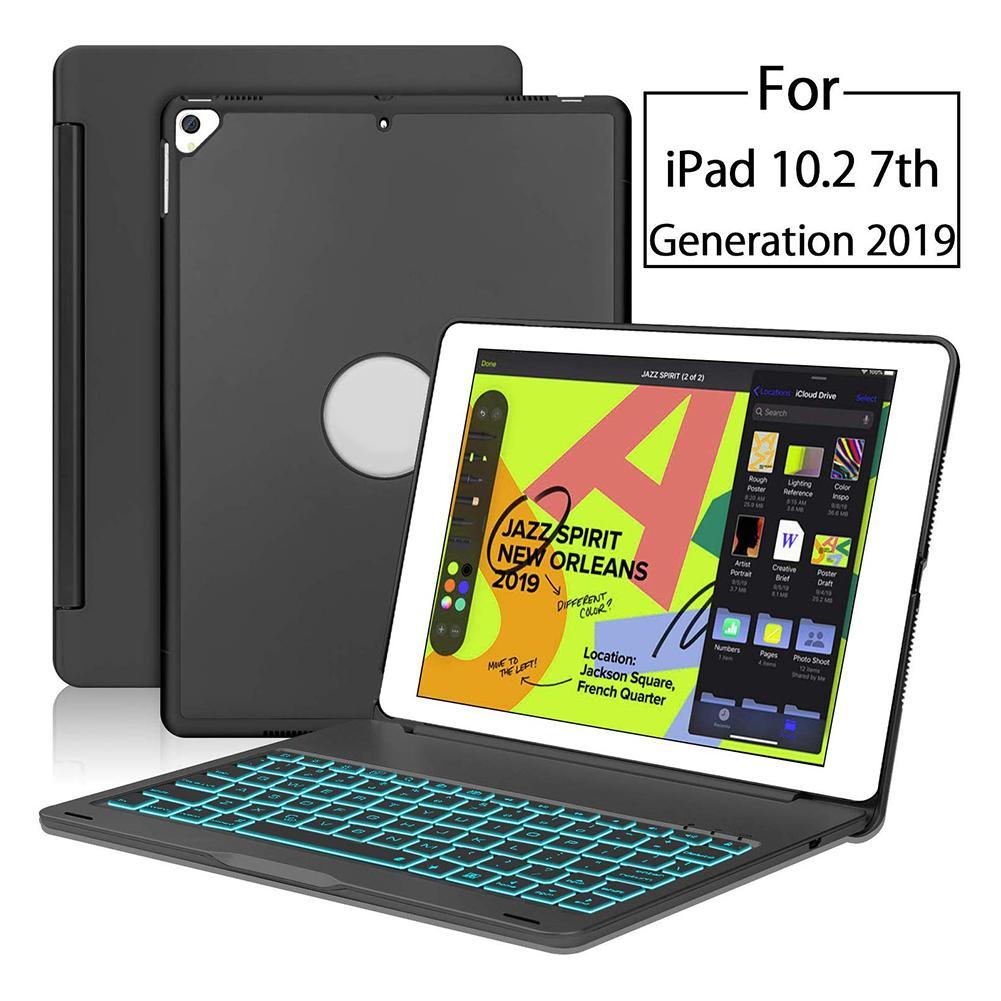 Ultra-thin Bluetooth Keyboard Backlit Hard Shell Black Aluminum Alloy Keyboard Protective Cover for iPad 10.2 2019 Keyboard Case