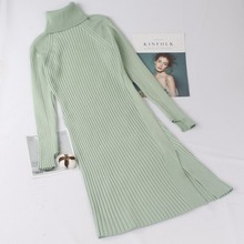 GIGOGOU Autumn Winter Women Turtleneck Sweater Dress Thick W