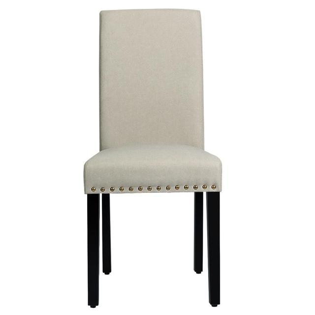 2 Fabric Dining Chairs w/ Nailhead Trim 6