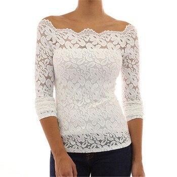Autumn Blouses Shirt Sexy Women Off Shoulder Slash Neck Lace Crochet Shirts Long Sleeve Slim Casual Tops Shirt Blousa blue cold shoulder long sleeves lace blouses