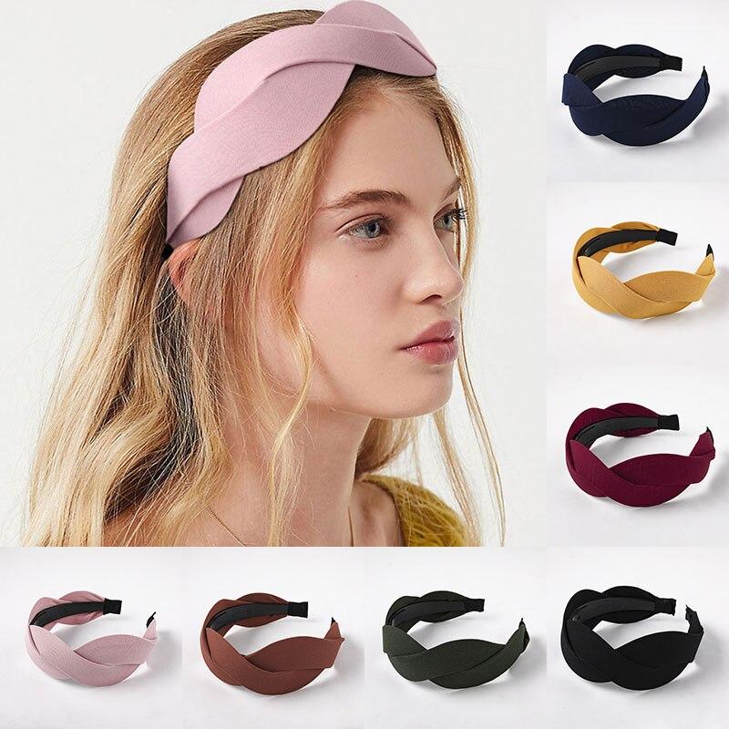 Women/'s Knot Headband Hairband Hair Band Head Wrap Wide Hair Hoop Solid