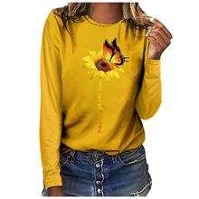 2019 Plus Size Fashion Print Round Neck T-shirt Long Sleeved Women Casual T-shirt navy print hot drilling round neck long sleeves t shirt