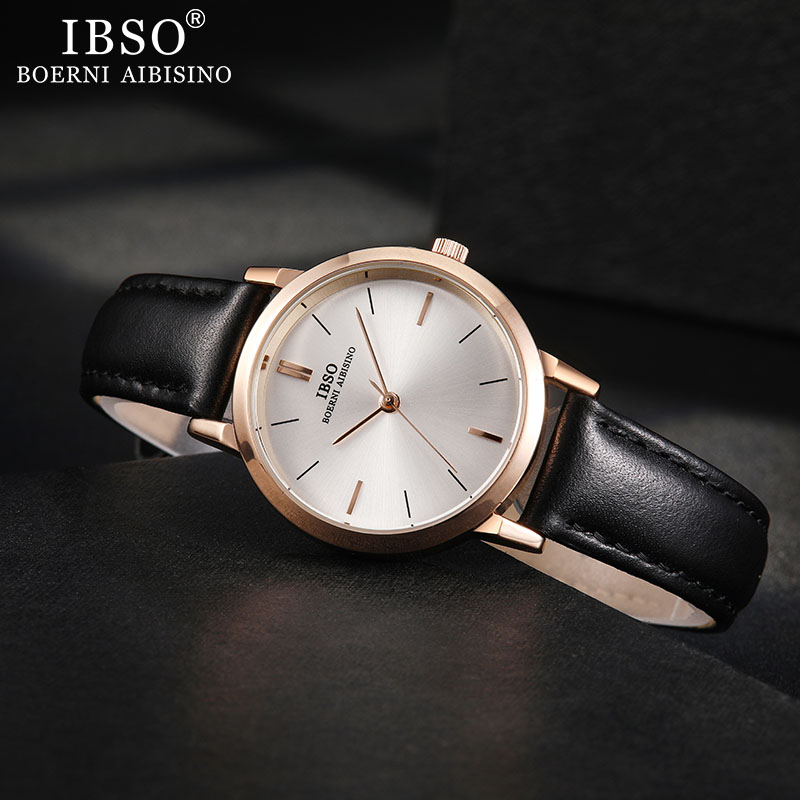 IBSO Brand Women's Watch Quartz Wristwatch 8mm Ultra Thin Leather Strap Quartz Clock Hours Ladies Simple Relogio Masculino