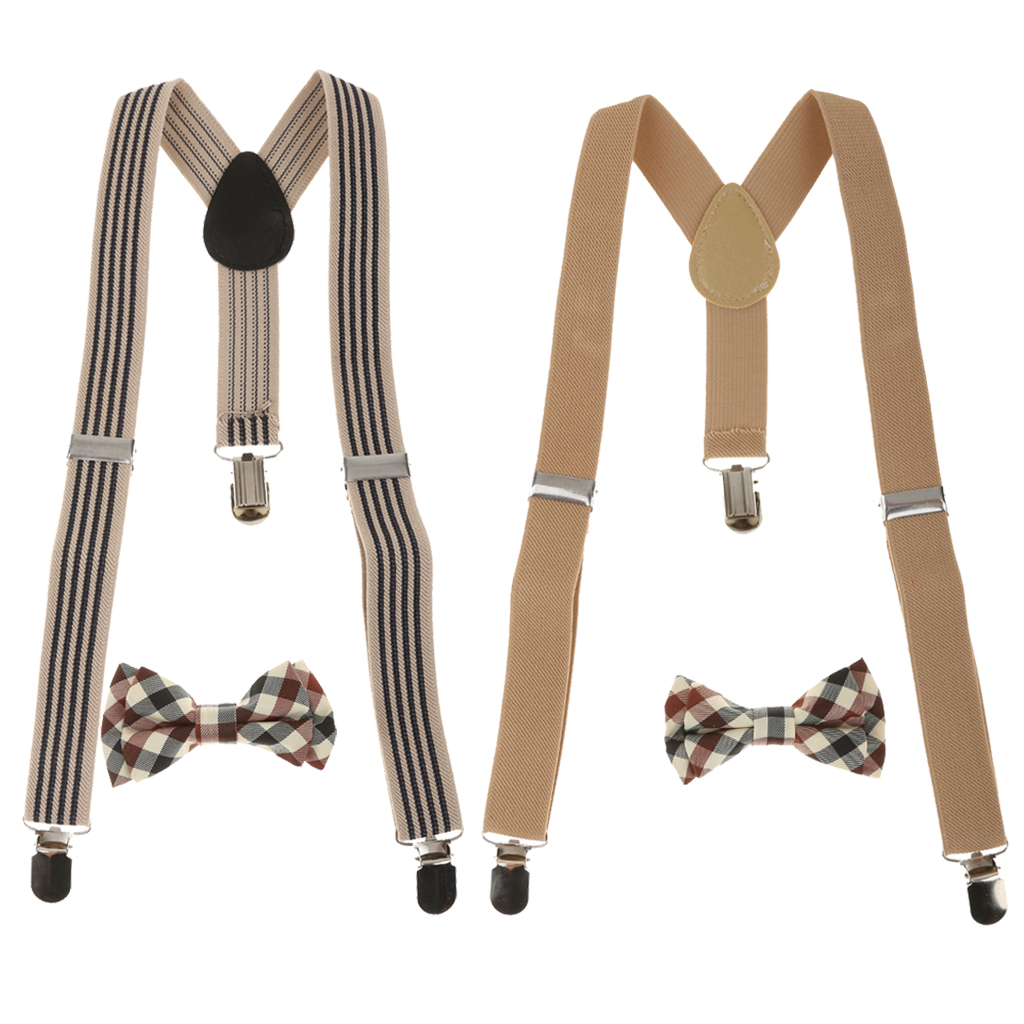 2Colors Mixed Kid Stretchble Y-back Suspender Bowtie Set Clip-on Braces Belts
