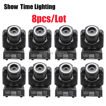 Much Cheaper 8Pcs/Lot 60W RGBW 4 In 1 Mini Dj Led beam moving head with led circle DMX 512 Control Use For KTV DJ Party lite