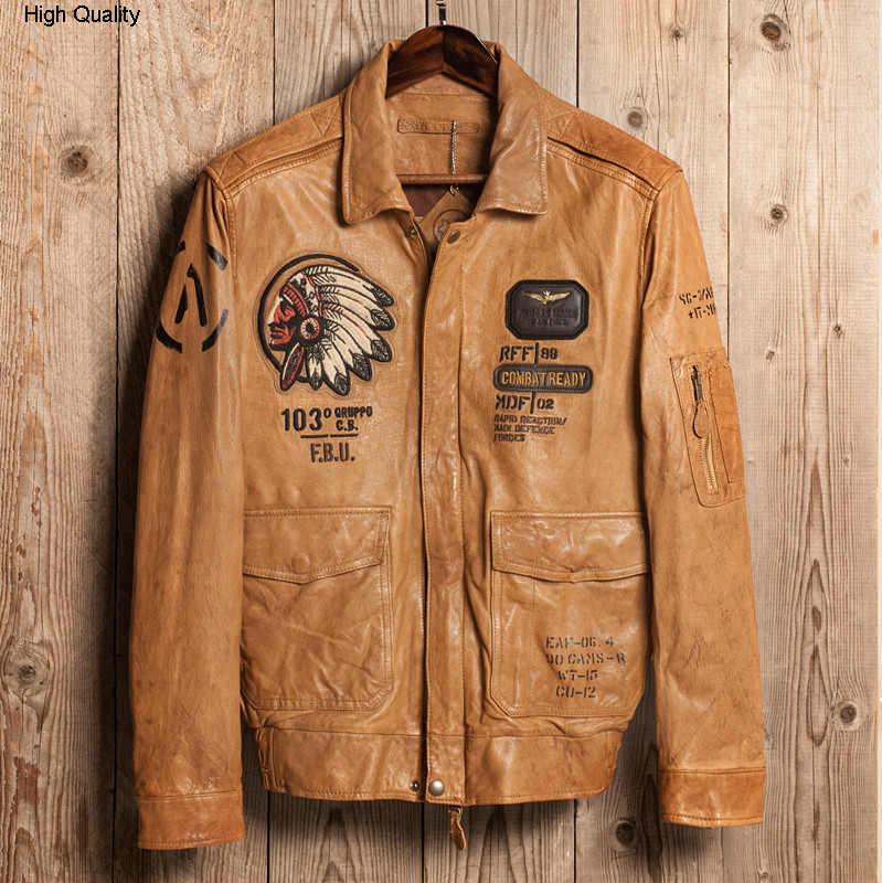 Chaqueta de vuelo americana A2 para hombre, chaqueta de cuero genuino con patrón bordado de piloto, abrigo cuero Hombre amarillo marrón aviador