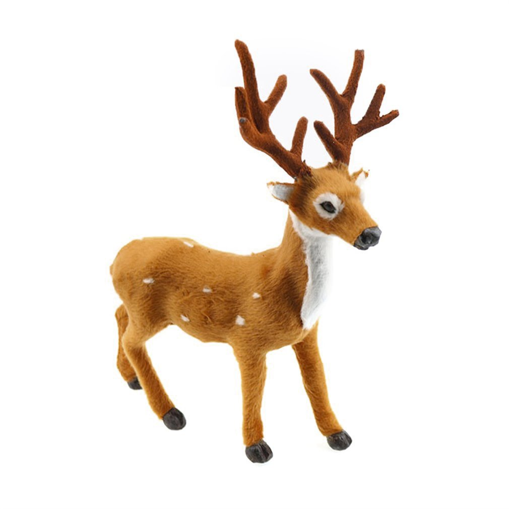 Lovely Simulation Reindeer Christmas Ornament Plush Plastic Cute Deer Children Toy Christmas Tree Home Decorations