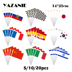 Yazfantasia 14*21cm 5/10/20pcs rússia eagle f1 chequado japão frança espanha sul coreia china itália israel pequena bandeira da mão