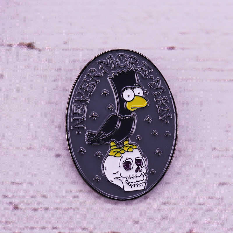 Edgar Allan Poe Nevermore Marge Homer Bart Simpson Lisa crânio broche Pin Badge