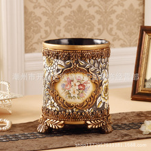 European Living Room Coverless Rubbish bin Fashion Creative Household Large Luxury Retro Round Pastoral Basket Resin