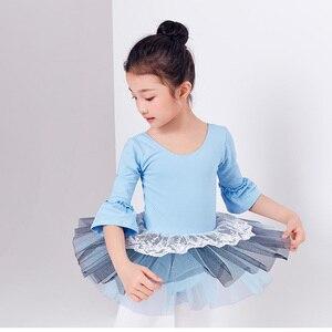 Image 4 - Ballet Tutu Dress Girl Children 3/4 Long Sleeve Performance Tutu Ballet Dance Dress