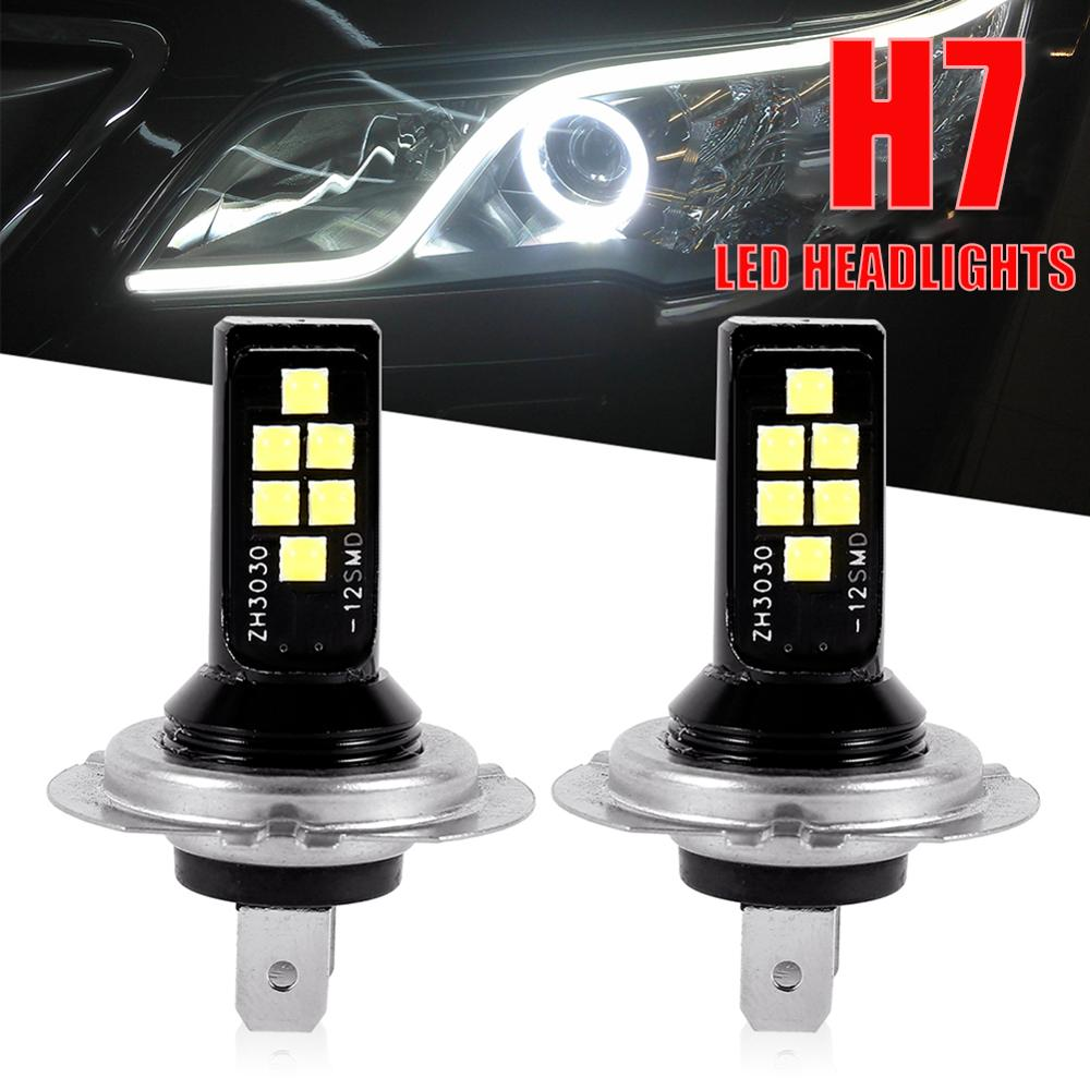 2pcs H7 LED Headlight Bulb Beam Kits 12W 6000K 1200LM LED Car Fog Light Auto Headlamp 12SMD 3030 Conversion Globes H7 LED Bulbs