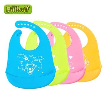 Baberos alimentación de silicona de grado alimenticio para bebé, toalla de Saliva impermeable, paños suaves, Bandana, Baberos infantiles ligeros, delantales ajustables, 1 Uds.