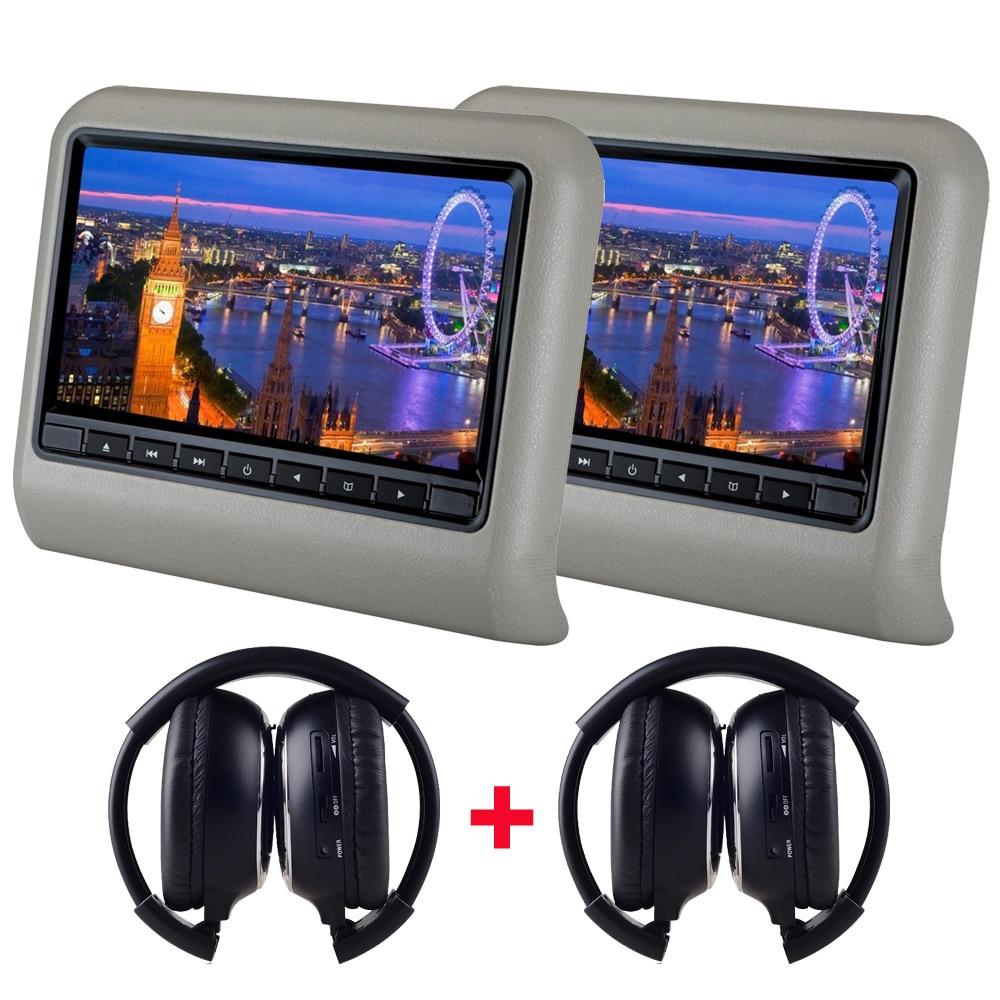 2 шт. X 9 дюймов HD Автомобильный подголовник dvd-плеер подголовник TFT ЖК-экран RCA монитор аудио видео Encosto de Cabeca com DVD - Цвет: Серый
