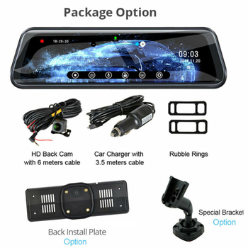 Car 10-inch 16:9 LCD widescreen Built-In Battery Screen DVR Rear View Mirrors Dash Cam HD 1080P Dual Lens Accessories