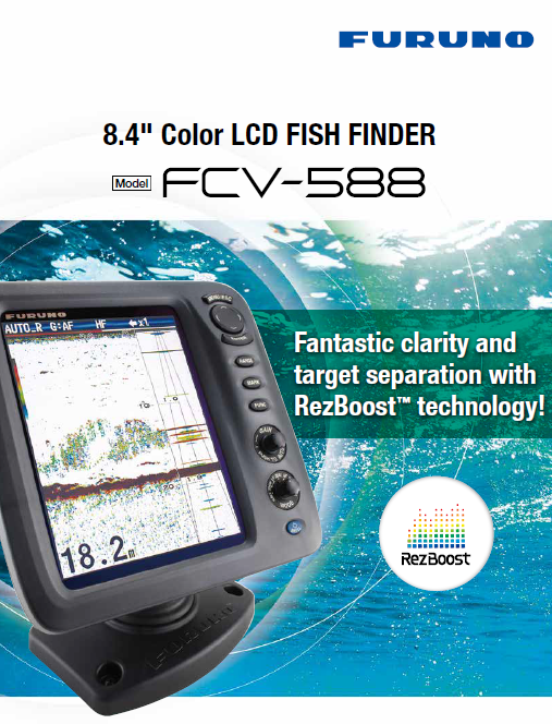 FURUNO 600 1KW Boat Ship Fish Finder FCV-588 8.4'' Colored LCD Echo Sounder Marine Electronics Maritime Communication Navigation