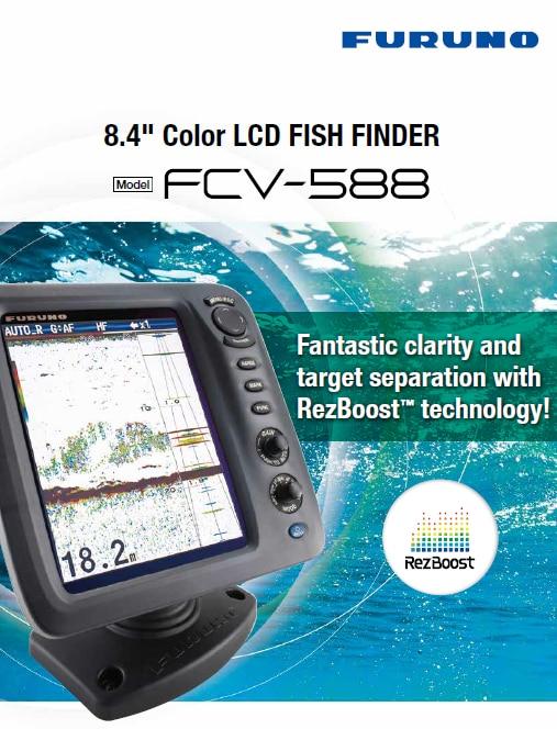 FURUNO 600 1KW Boat Ship Fish Finder FCV-588 8.4'' Colored LCD Echo Sounder Marine Electronics Maritime Communication Navigation