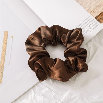 1 Pcs Satin Silk Solid Color Hair Ties Scrunchie Elastic Hair Bands Women Luxury Soft Hair Accessories Ponytail Holder Hair Rope 3