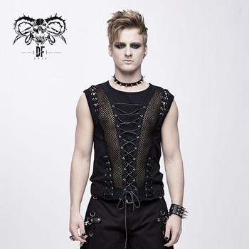 Devil Fashion Punk Gothic Mens Sleeveless T Shirt Vest Tops Black O Neck Tees Cross Ties Patchwork Men Clothes